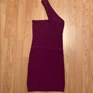 Dark Purple one shoulder Bandage Dress